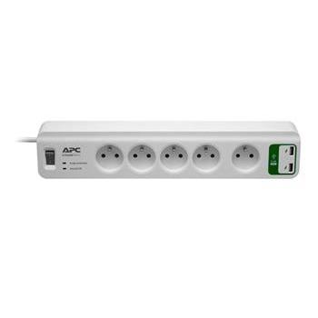 APC Přepěťová ochrana - 5 zásuvek (230V), 2x 2,4 A USB